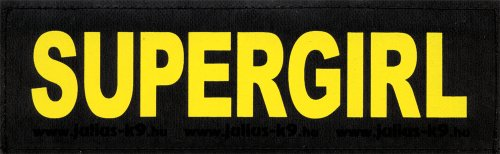 "SUPERGIRL 2x LARGE velcro labels / substitution logos / large yellow for Julius K9 Power + IDC harness of size: ""1″, ""2″, ""3″ or ""4″ – K-9 – logosize: 5 x 16 cm"