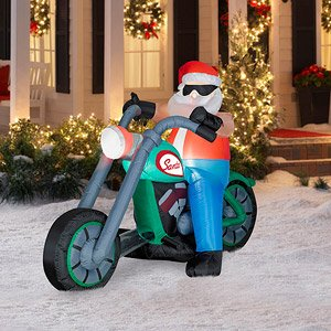 CHRISTMAS DECORATION LAWN YARD INFLATABLE SANTA ON MOTORCYCLE 4.5' TALL