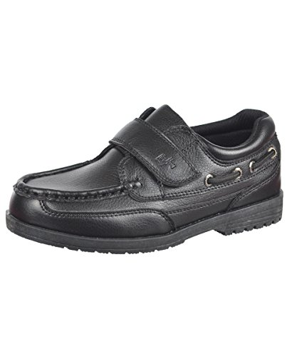 French Toast Bryan Toddler Boys Size 10 Black Moc Faux Leather Loafers Shoes front-972504