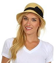 Womens 100% Paper Straw Black Flower Accent Cloche Bucket Bell Summer Hat