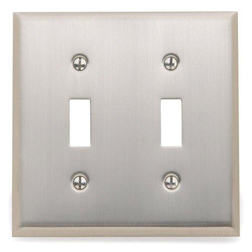 Yow- Baldwin Beveled Edge 2 Toggle Wall Plate - Satin Nickel Model# 4761.150.Cd
