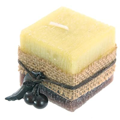 Hessian And Berry Apple Scented Square Pillar Candle 5cm from Puckator
