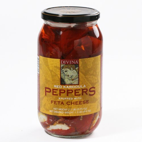 Red Kardoula Peppers Stuffed with Feta - Large Jar (2.1 pound)