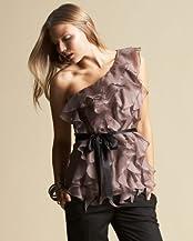 bebe Silk One-Shoulder Ruffle Blouse
