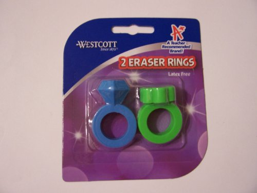 Westcott Latex Free 2 Ring Erasers ~ Blue Diamond & Green Flower Erasers
