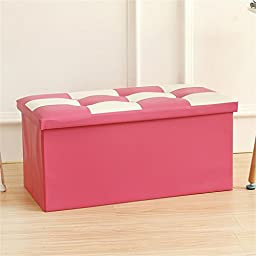 Happy- Kids Childrens Large Storage Seat Stool Toy Books Clothes Box,763838cm ( Color : Pink )