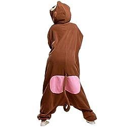 TELLOYSD Unisex Warm Kigurumi Onesie Pajamas Casual Cosplay(S(148-160CM), Baboon)
