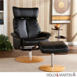 holly & martin bennett leather recliner chair and ottoman in shimmer black