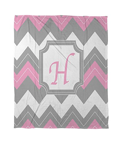 Thumbprintz Coral Fleece Throw, 50 By 60-Inch, Monogrammed Letter H, Pink Chevron front-444881