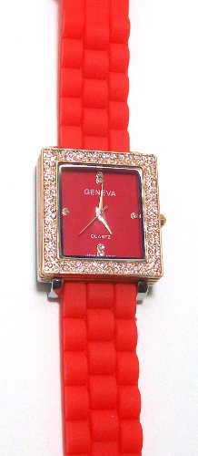 Geneva Silicone Rosegold Watch with Red Band Square Face with Crystals and Rhinestones