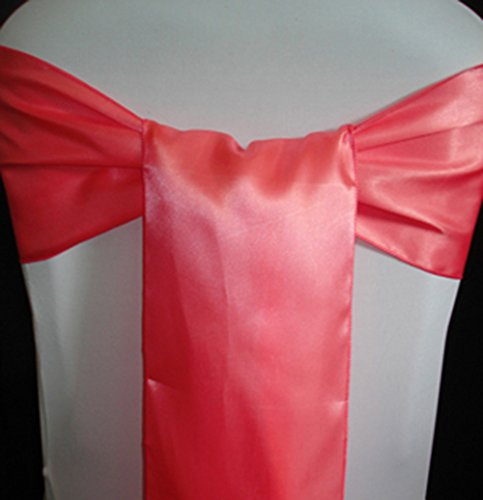 MDS Pack of 100 satin chair sashes bow for wedding and Events Supplies Party Decoration chair cover sash -Coral