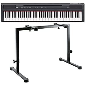 Yamaha p 105b portable digital piano with k m omega table style keyboard stand black for Table yamaha