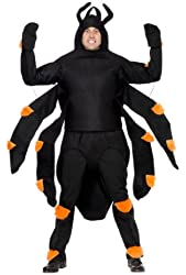Smiffy's Men's Spider Costume Top with Arms Hood Abdomen Knee and Ankle Pads