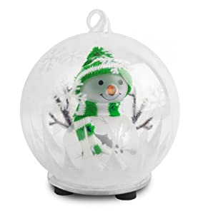 Color Changing LED Glass Globe Snowman With Knit Hat Ornament / Centerpiece (Sold Individually)