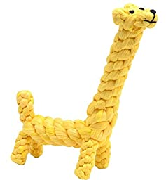 BINGPET Upgrade Dog Cotton Cloth Toy Puppy Pet Tough Chew Giraffe Toys for Small or Medium Dogs Biting