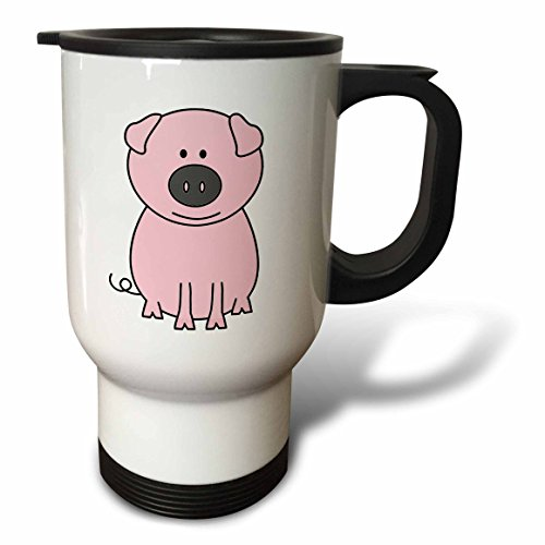 3dRose Pink Pig Cartoon Stainless Steel Travel Mug, 14-Ounce