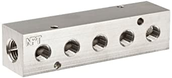 "Polyconn PCM10-125-05NP Nickel Plated Aluminum Manifold, 1/4"" NPT Female x 1/8"" NPT Female, 5 Stations"