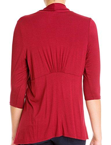 eVogues Plus Size Longline Drape Front Cardigan Burgundy - 3X
