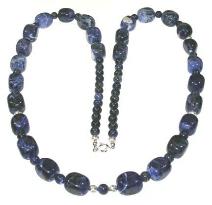 30 Inch Sodalite Nugget and Sterling Silver Necklace