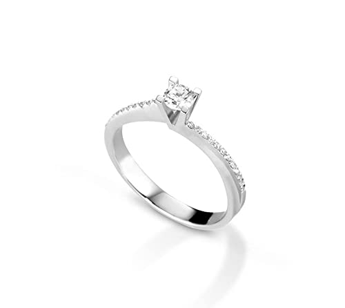 ENGAGEMENT RING 18KT WHITE GOLD AND DIAMOND RING DIFFERENT CARAT WEIGHT SOLITARY VALENTINE GIFT FOR HER GIFT FOR HER BIRTHDAY MARIKA GIOIELLI MADE IN ITALY