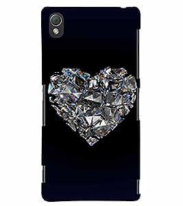 PrintVisa Romantic Love Diamond 3D Hard Polycarbonate Designer Back Case Cover for Sony Xperia Z3