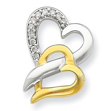 PriceRock Sterling Silver & Vermeil Diamond Heart Pendant