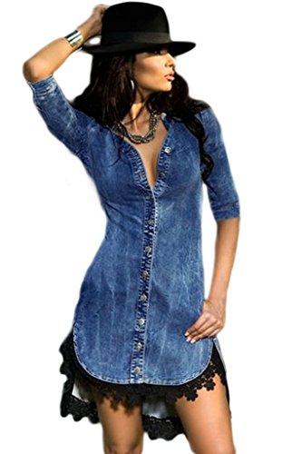 Nuovo Ladies Stretch Denim Shirt Vestito Mini vestito da partito di sera Estate Vestiti Taglia UK 12EU 40