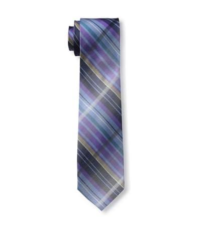 Ben Sherman Men's Large Shaded Grid Tie, Purple