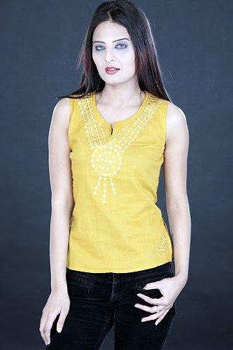 ladies / womens cotton sequins work sleeveless short tops / kurta / tunics / dresses