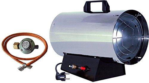 Gas-Heizkanone Gasheizer Gasheizgerät 15 KW Edelstahl Druckregler , Gasschlauch GT150E