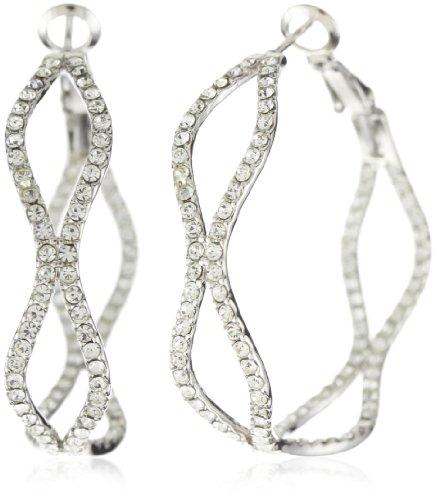 Leslie Danzis Rhodium Crystal Hoop Earrings
