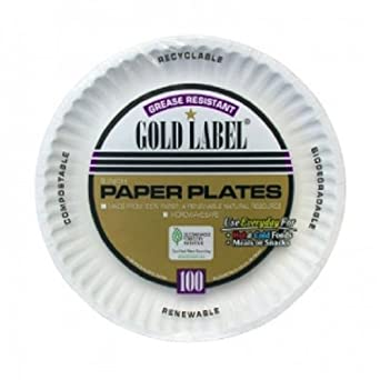 "AJM Packaging CP9GOAWH Gold Label White Coated Paper Plate, 9"" Diameter (12 Packs of 100)"