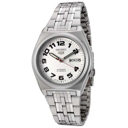 Seiko Men's 5 Automatic SNK653K Silver Stainless-Steel Automatic Watch with White Dial