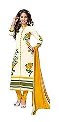 RK Fashion Womens Chiffon Un-Stitched Salwar Suit Dupatta Material ( Rajguru-Rimzim-9046-A-Yellow-Free Size )