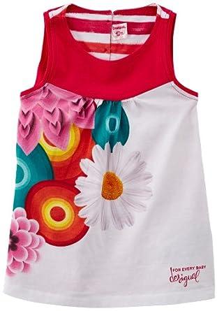 Desigual - rayas - robe - bébé fille - rouge (azalea) - 3