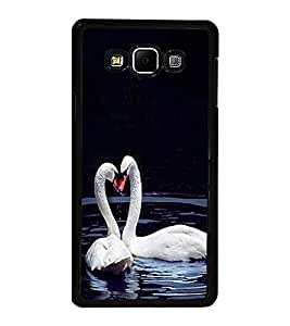 Fuson Premium 2D Back Case Cover Cute Swans in water With Yellow Background Degined For Samsung Galaxy A8::Samsung Galaxy A8 A800F