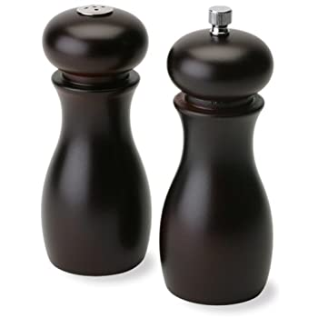 Olde Thompson Caffee Espresso wood peppermill and salt shaker Set is the perfect compliment to any kitchen or tabletop setting. Contemporary dark wood design. Peppermill has carbon steel grinding mechanism that is fully adjustable from coarse to fine...