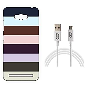 Designer Hard Back Case for Asus Zenfone Max with 1.5m Micro USB Cable