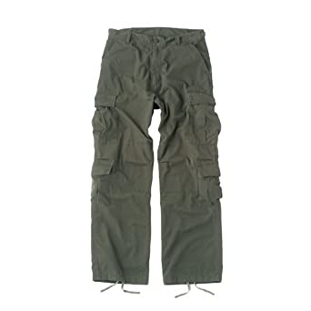 Camouflage Vintage Paratrooper Fatigues Cargo Pants, Medium, Olive