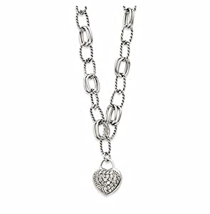 Sterling Silver Cubic Zirconia Hanging Heart Necklace