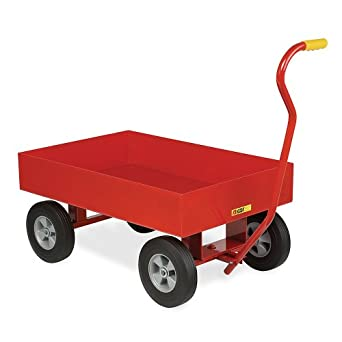 """Little Giant Shop Wagons With Lip Edge - 36""""Wx24""""D Deck - Smooth Deck With Extra Deep 6"""" Lip - 10"""" Pneumatic Wheels"""