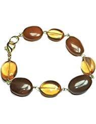 Khushigems Brown Quartz & Smoky Quartz Gemstone Gold Plated Handmade Bracelet Jewelry A1042