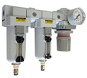 "PneumaticPlus SAU4030M-N04DG-MEP Three Stage Air Drying System - Air Particulate Filter, 0.3 Micron Coalescing Filter & Air Pressure Regulator Modular Combo 1/2"" NPT - Auto Drain, Metal Bowl from PneumaticPlus"