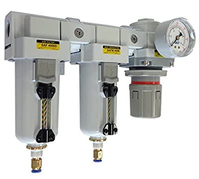 "PneumaticPlus SAU4030M-N04DG-MEP Three Stage Air Drying System - Air Particulate Filter, 0.3 Micron Coalescing Filter & Air Pressure Regulator Modular Combo 1/2"" NPT - Auto Drain, Metal Bowl"