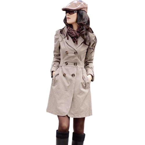 Allegra K Gray Long Sleeve Notched Lapel Belted Trench Coat for Lady XS