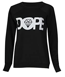 Forever Womens Dope Geek Brookleyn Boy Eagle Print Fleece Sweatshirt (ML-10/12, Dope Black)