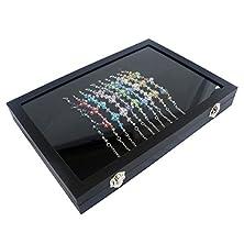 buy Black Glass Top Jewelry Display Box Case For Bracelet / Necklace / Chain / Watch (Size:35X24X4.5Cm)