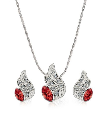Eclat Rhodium Brass Alloy Pendant Set For Women(613114RS)