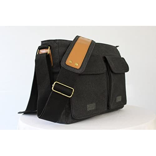 SKORCH Slim Canvas Messenger Bags and Commuter Bags for Men and Women, with Comfortable Shoulder Straps (Black)
