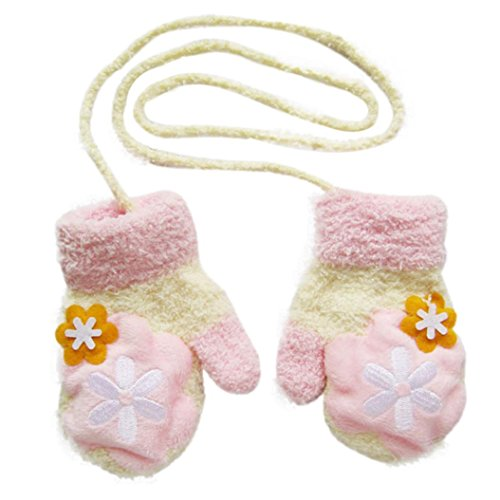 Voberry Kids Baby Infant Girls Boys Lovely Winter Mittens Plush Line Knitted Gloves with String Cute (Pink)